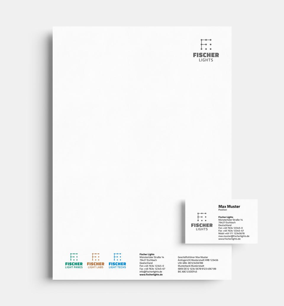 DRWA Das Rudel Werbeagentur Freiburg > Kompetenzen > Corporate-Design > Beispiel 03 > Kunde FischerLights, Eschbach, Gewerbepark Breisgau