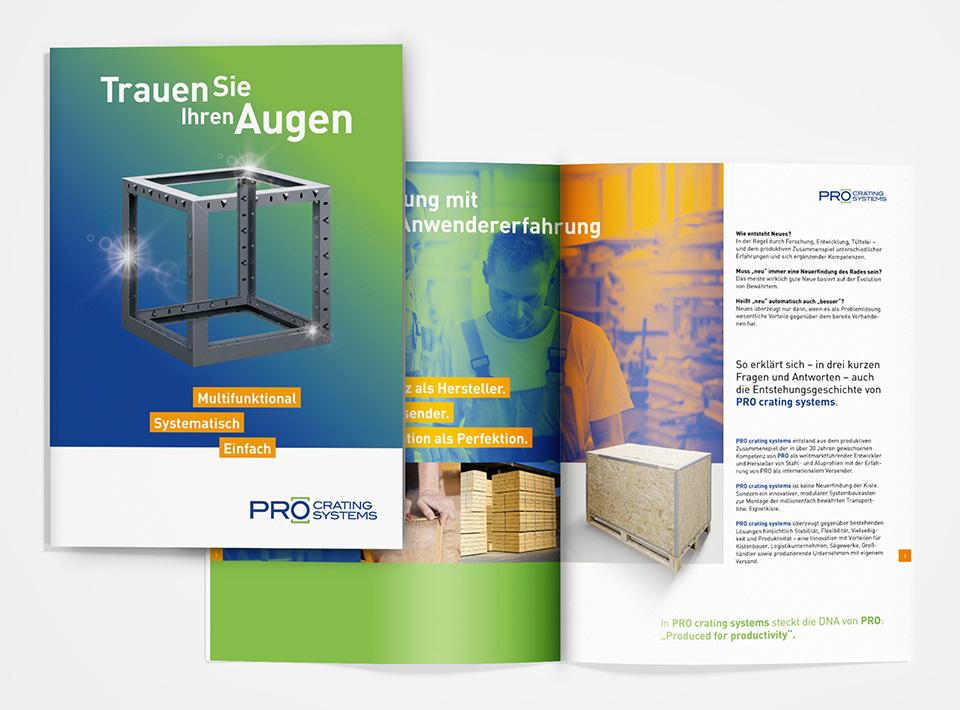 DRWA Das Rudel Werbeagentur Freiburg > Kompetenzen > Print-Design > PRO crating systems, Gäufelden