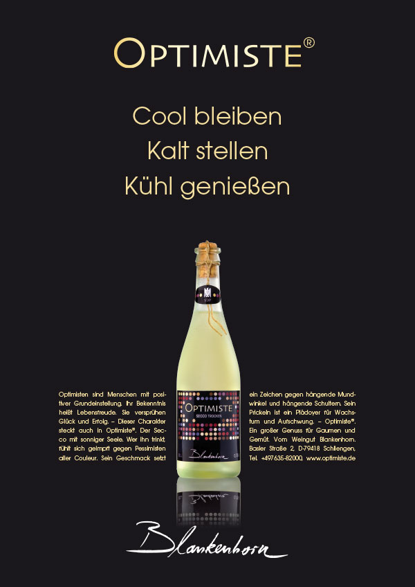 DRWA Das Rudel Werbagentur Freiburg | Awards Jahrbuch der Werbung 2010 | Weingut Blankenhorn Secco OPTIMISTE
