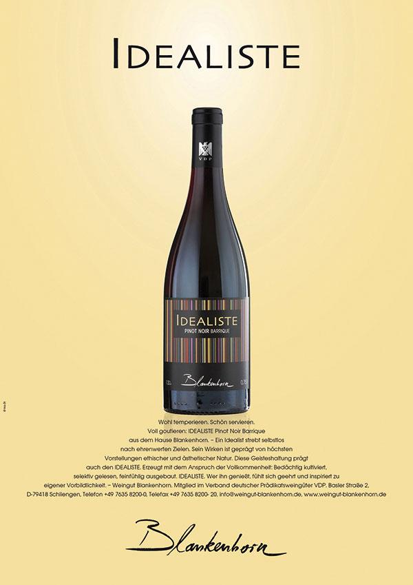 DRWA Das Rudel Werbagentur Freiburg | Awards Jahrbuch der Werbung 2011 | Anzeige Weingut Blankenhorn IDEALISTE Weissburgunder