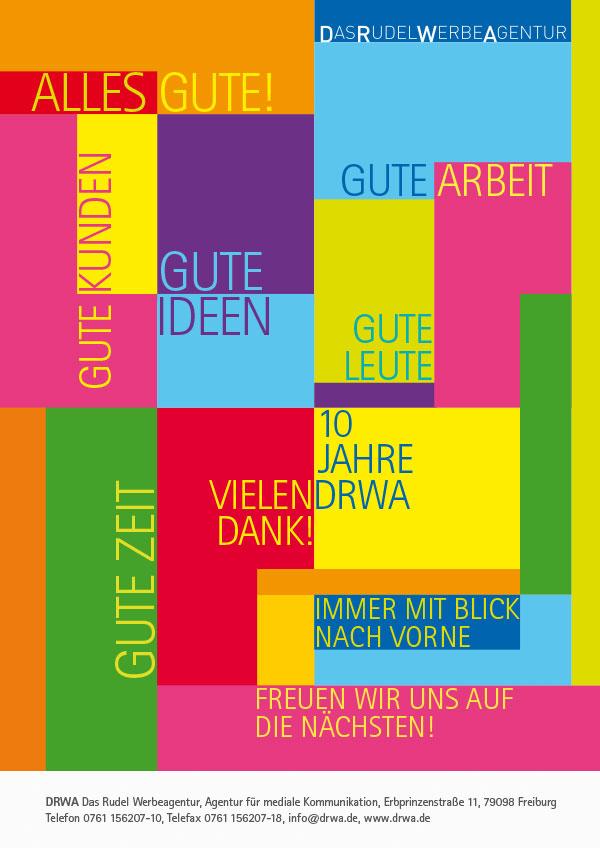 DRWA Das Rudel Werbagentur Freiburg | Awards Das Jahr der Werbung 2014 | Anzeige 10 Jahre DRWA