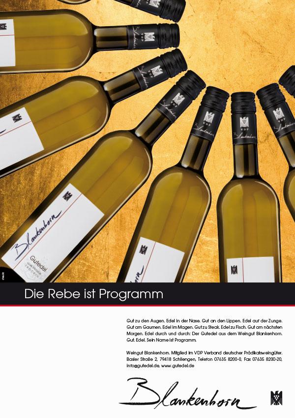 DRWA Das Rudel Werbagentur Freiburg | Awards Das Jahr der Werbung 2014 | Anzeige Weingut Blankenhorn Gutedel
